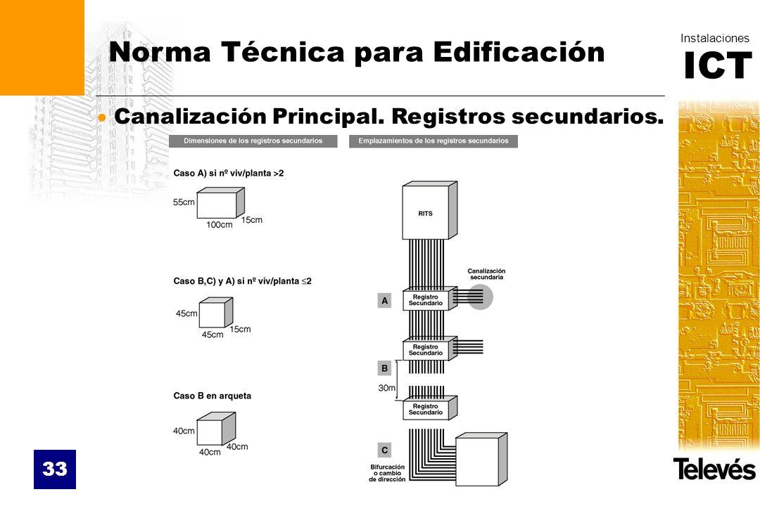 ICT Instalaciones 33 Norma Técnica para Edificación Canalización Principal. Registros secundarios.