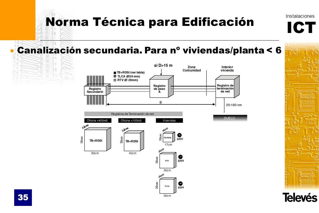 ICT Instalaciones 35 Norma Técnica para Edificación Canalización secundaria. Para nº viviendas/planta < 6