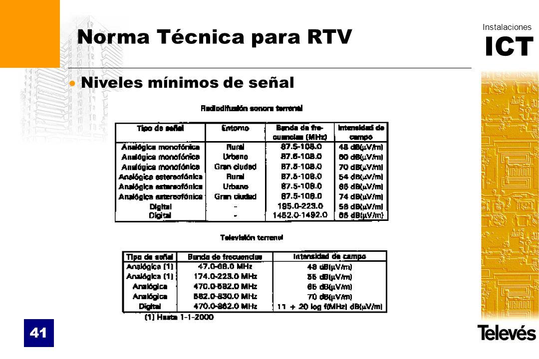 ICT Instalaciones 41 Norma Técnica para RTV Niveles mínimos de señal