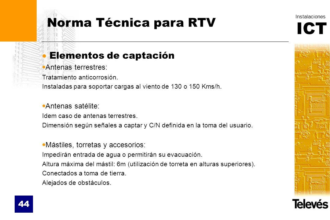 ICT Instalaciones 44 Norma Técnica para RTV Elementos de captación Antenas terrestres: Tratamiento anticorrosión. Instaladas para soportar cargas al v