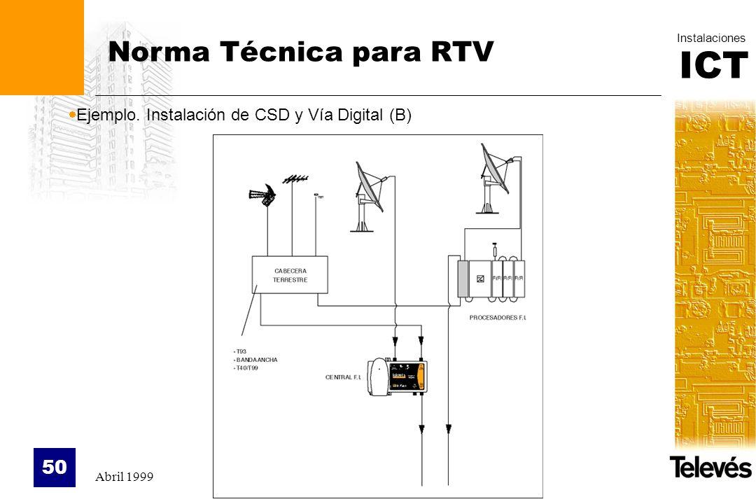 ICT Instalaciones Abril 1999 50 Norma Técnica para RTV Ejemplo. Instalación de CSD y Vía Digital (B)