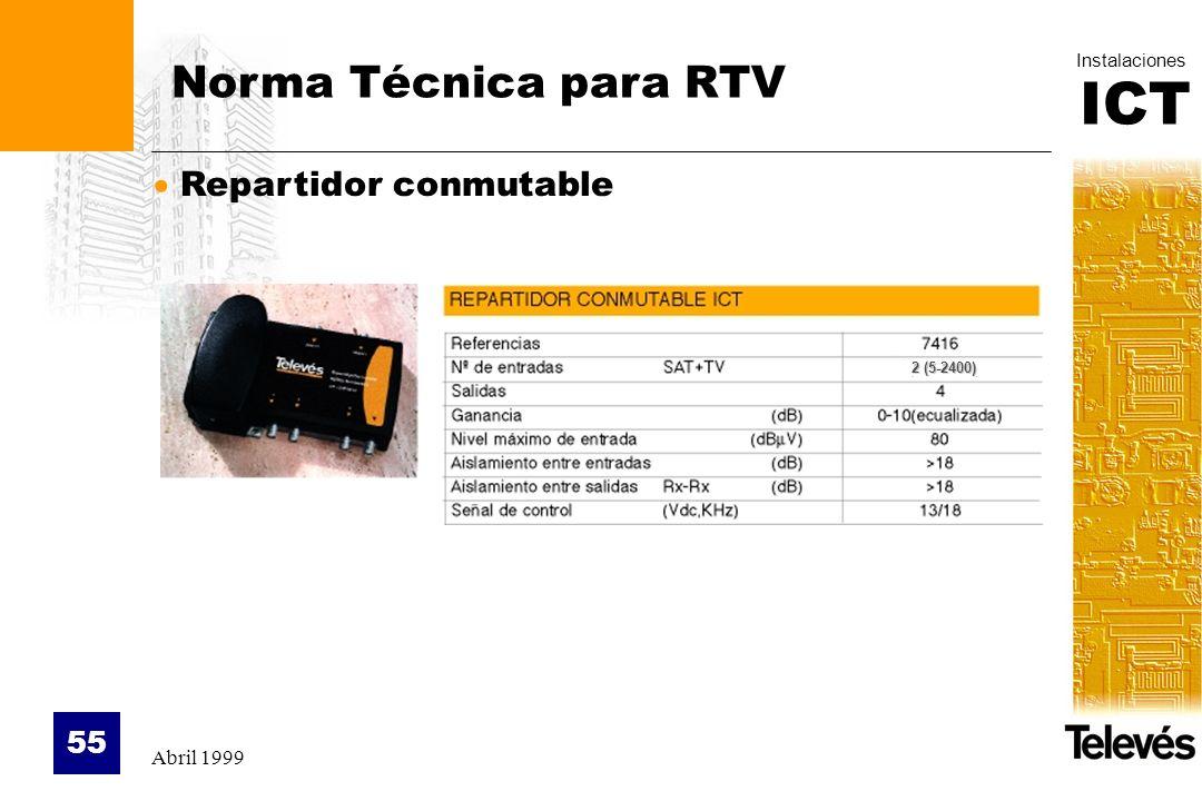 ICT Instalaciones Abril 1999 55 Norma Técnica para RTV Repartidor conmutable 2 (5-2400)