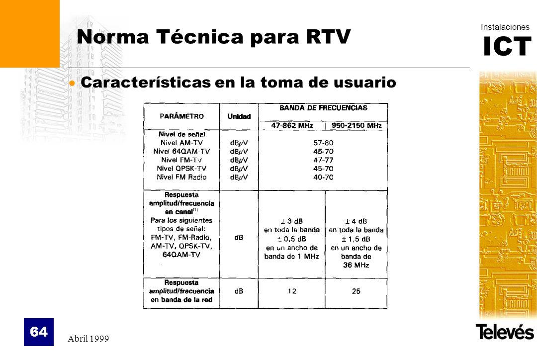 ICT Instalaciones Abril 1999 64 Norma Técnica para RTV Características en la toma de usuario