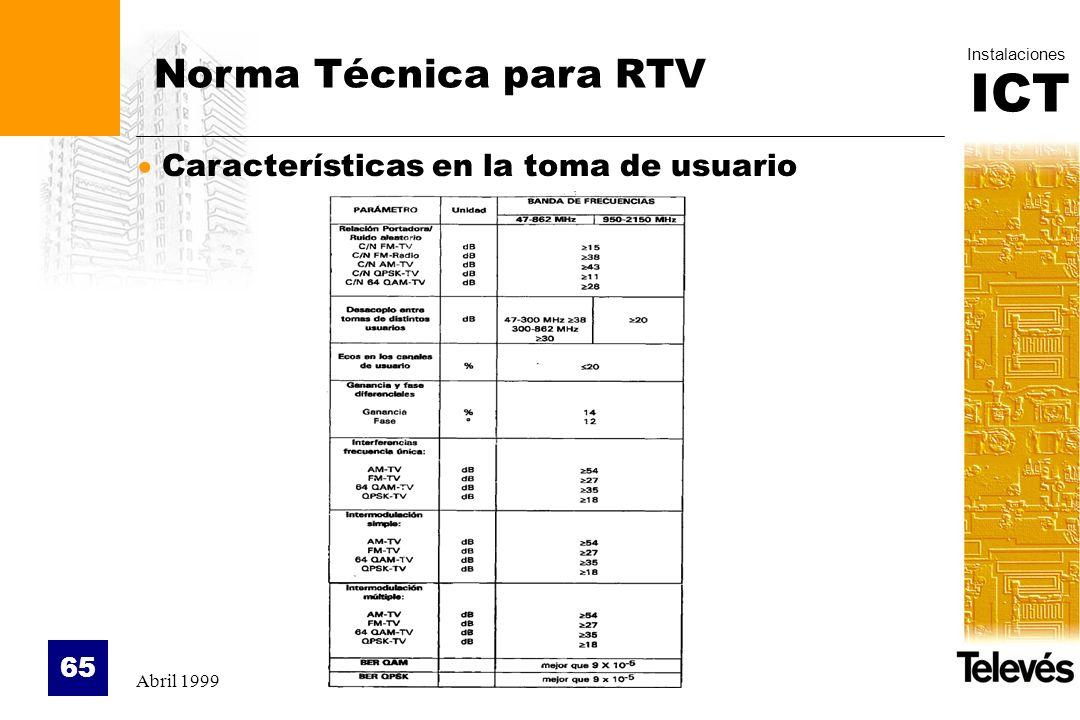 ICT Instalaciones Abril 1999 65 Norma Técnica para RTV Características en la toma de usuario