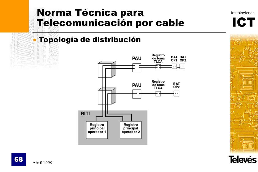 ICT Instalaciones Abril 1999 68 Norma Técnica para Telecomunicación por cable Topología de distribución