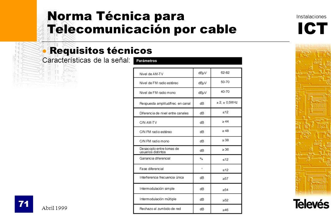 ICT Instalaciones Abril 1999 71 Norma Técnica para Telecomunicación por cable Requisitos técnicos Características de la señal: