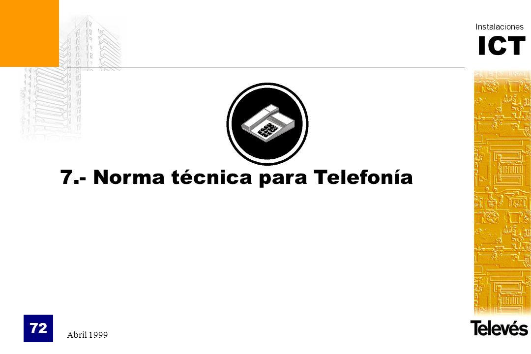 ICT Instalaciones Abril 1999 72 7.- Norma técnica para Telefonía