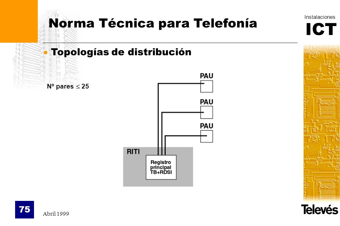 ICT Instalaciones Abril 1999 75 Topologías de distribución Norma Técnica para Telefonía Nº pares 25