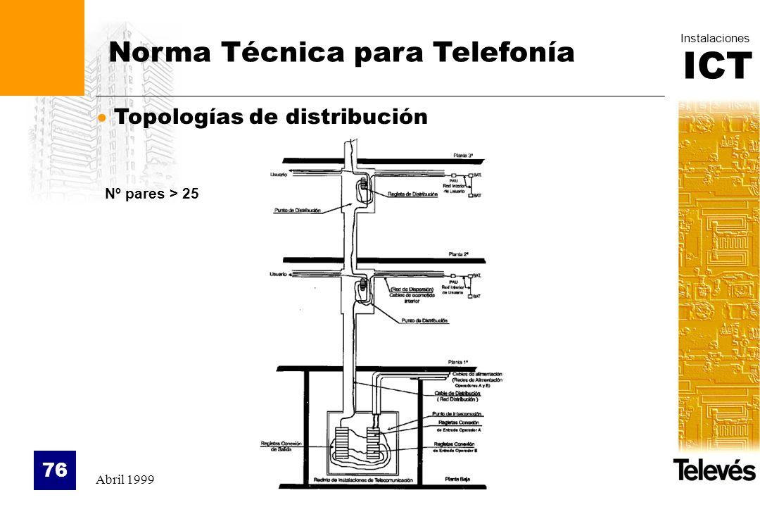 ICT Instalaciones Abril 1999 76 Topologías de distribución Norma Técnica para Telefonía Nº pares > 25