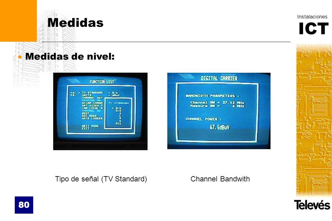 ICT Instalaciones 80 Medidas Medidas de nivel: Tipo de señal (TV Standard)Channel Bandwith