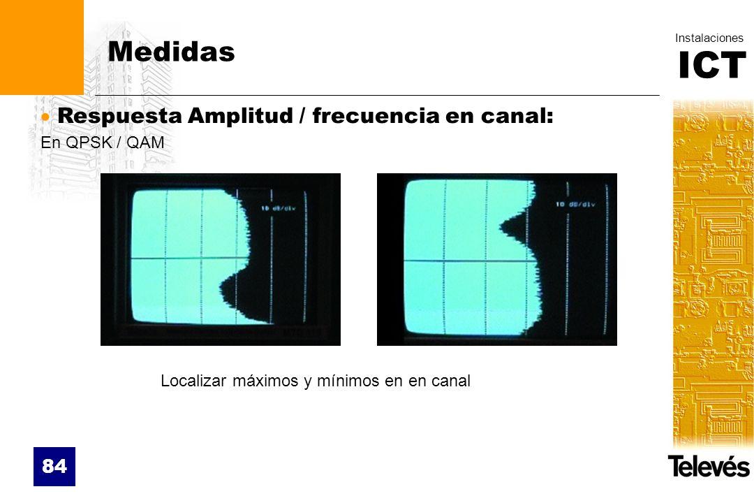 ICT Instalaciones 84 Medidas Respuesta Amplitud / frecuencia en canal: En QPSK / QAM Localizar máximos y mínimos en en canal