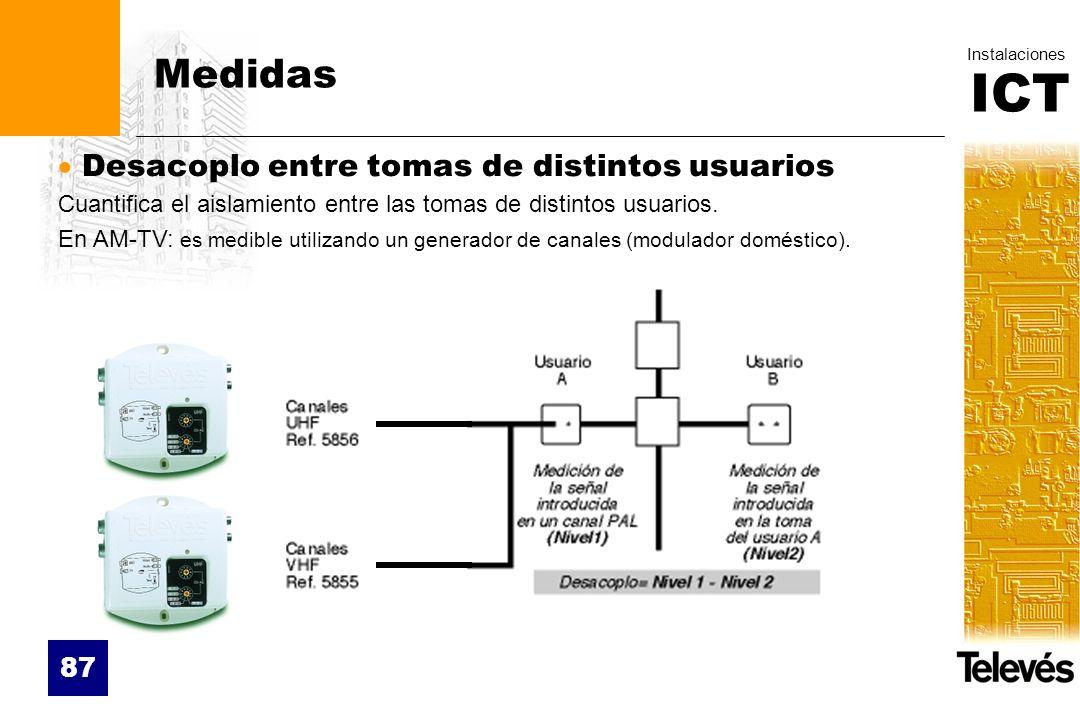 ICT Instalaciones 87 Medidas Desacoplo entre tomas de distintos usuarios Cuantifica el aislamiento entre las tomas de distintos usuarios. En AM-TV: es