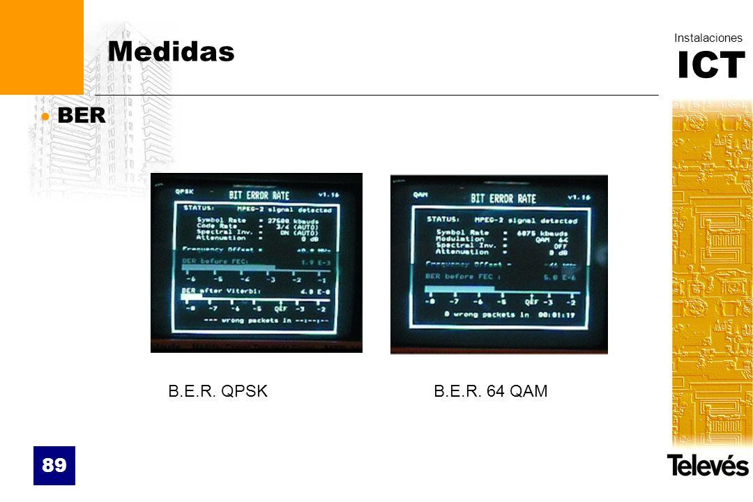 ICT Instalaciones 89 Medidas BER B.E.R. QPSKB.E.R. 64 QAM