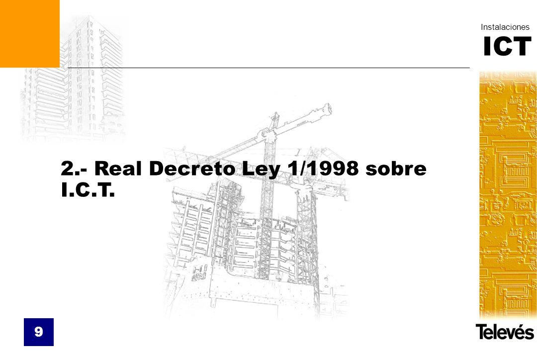 ICT Instalaciones 9 2.- Real Decreto Ley 1/1998 sobre I.C.T.