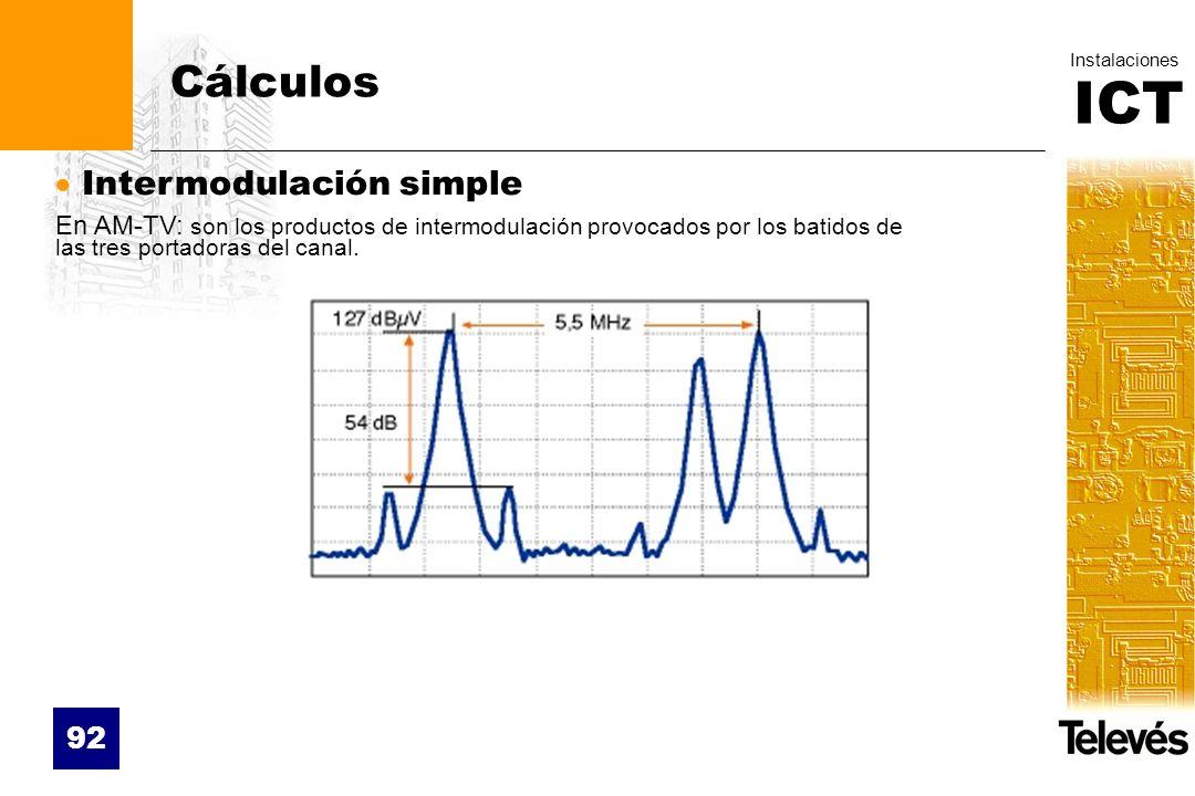ICT Instalaciones 92 Cálculos Intermodulación simple En AM-TV: son los productos de intermodulación provocados por los batidos de las tres portadoras