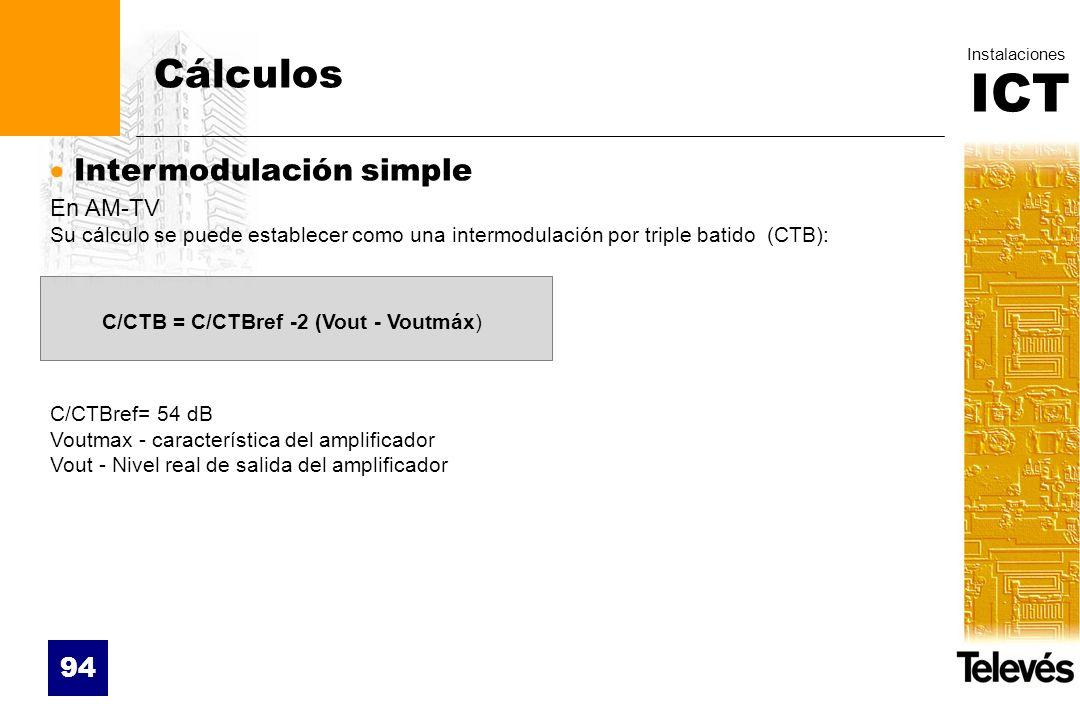 ICT Instalaciones 94 Cálculos Intermodulación simple En AM-TV Su cálculo se puede establecer como una intermodulación por triple batido (CTB): C/CTBre