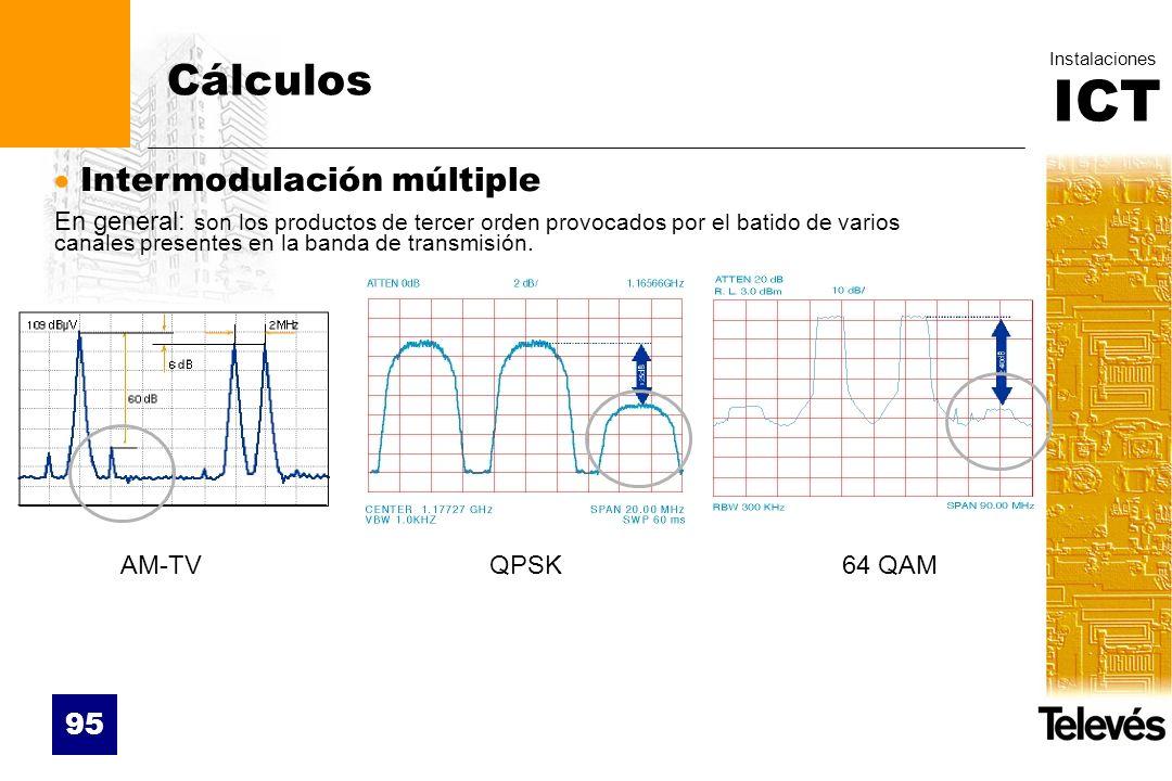 ICT Instalaciones 95 Cálculos Intermodulación múltiple En general: son los productos de tercer orden provocados por el batido de varios canales presen