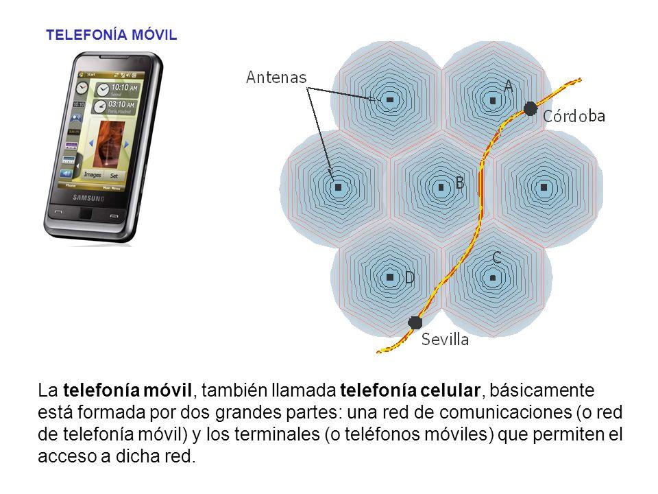 TELEFONÍA MÓVIL La telefonía móvil, también llamada telefonía celular, básicamente está formada por dos grandes partes: una red de comunicaciones (o r