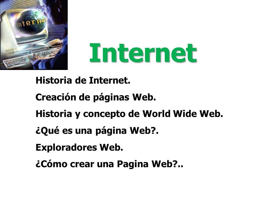 Historia de Internet. Creación de páginas Web. Historia y concepto de World Wide Web. ¿Qué es una página Web?. Exploradores Web. ¿Cómo crear una Pagin