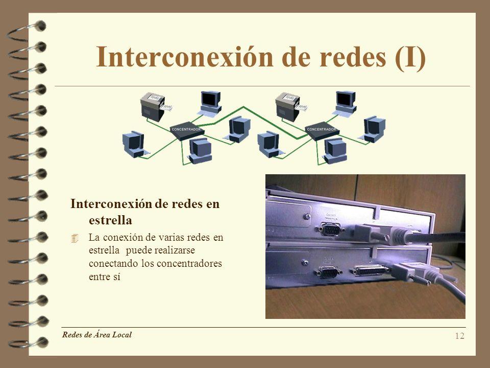 12 Interconexión de redes (I) Redes de Área Local Interconexión de redes en estrella 4 La conexión de varias redes en estrella puede realizarse conect