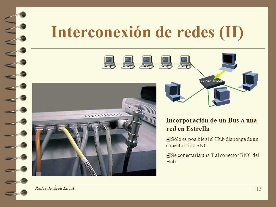 13 Interconexión de redes (II) Redes de Área Local Incorporación de un Bus a una red en Estrella 4Sólo es posible si el Hub disponga de un conector ti