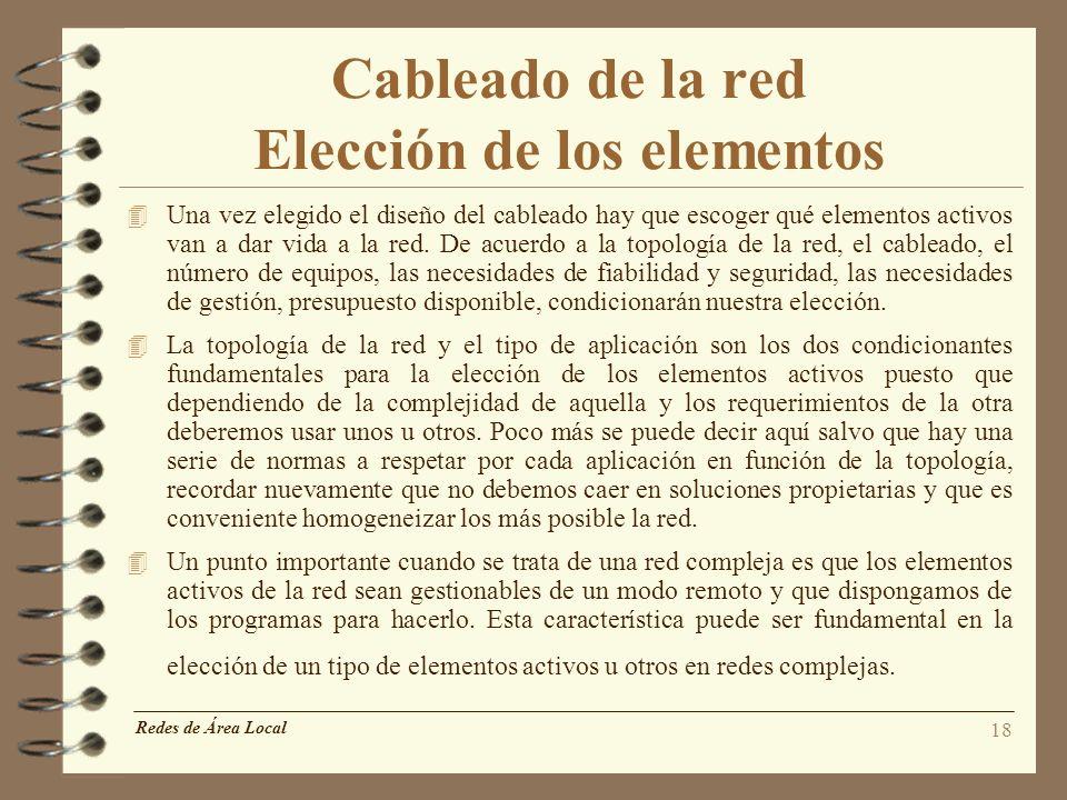 18 Cableado de la red Elección de los elementos 4 Una vez elegido el diseño del cableado hay que escoger qué elementos activos van a dar vida a la red