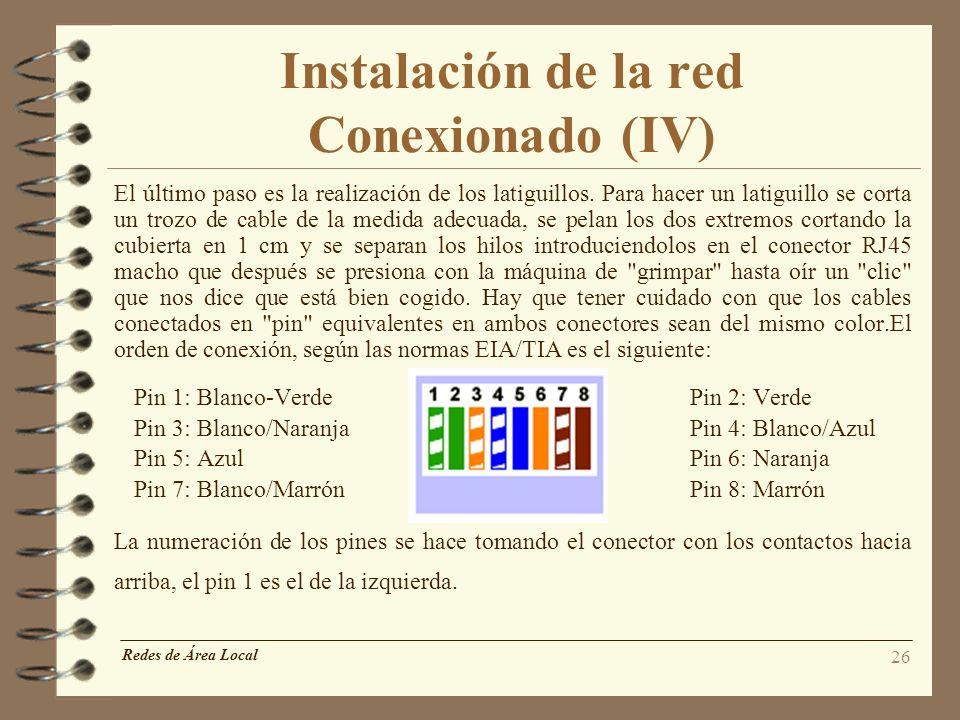 26 Instalación de la red Conexionado (IV) El último paso es la realización de los latiguillos. Para hacer un latiguillo se corta un trozo de cable de