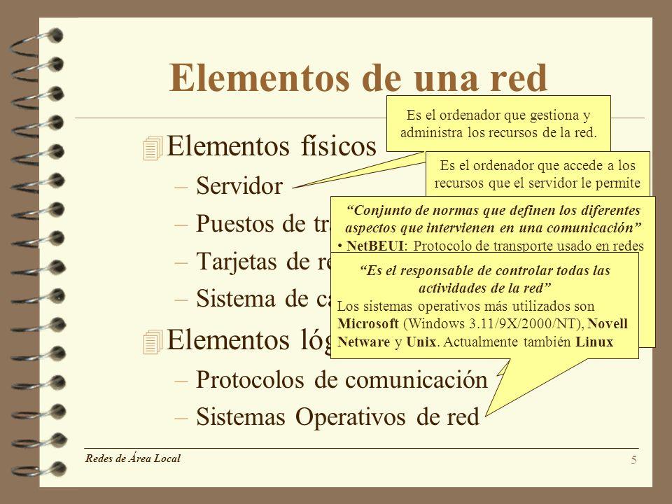 5 Elementos de una red 4 Elementos físicos –Servidor –Puestos de trabajo –Tarjetas de red –Sistema de cableado 4 Elementos lógicos –Protocolos de comu