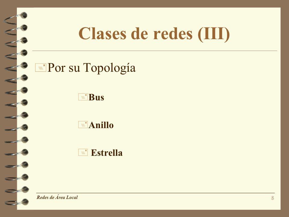 8 Redes de Área Local Clases de redes (III) + Por su Topología +Bus +Anillo + Estrella