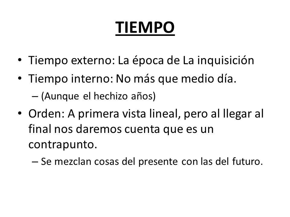 TIEMPO Tiempo externo: La época de La inquisición Tiempo interno: No más que medio día.