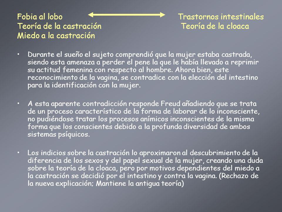 Fobia al lobo Trastornos intestinales Teoría de la castración Teoría de la cloaca Miedo a la castración Durante el sueño el sujeto comprendió que la m