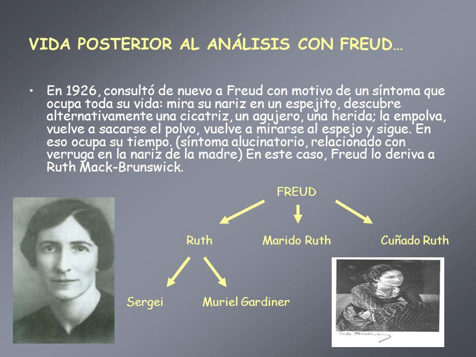 VIDA POSTERIOR AL ANÁLISIS CON FREUD… En 1926, consultó de nuevo a Freud con motivo de un síntoma que ocupa toda su vida: mira su nariz en un espejito