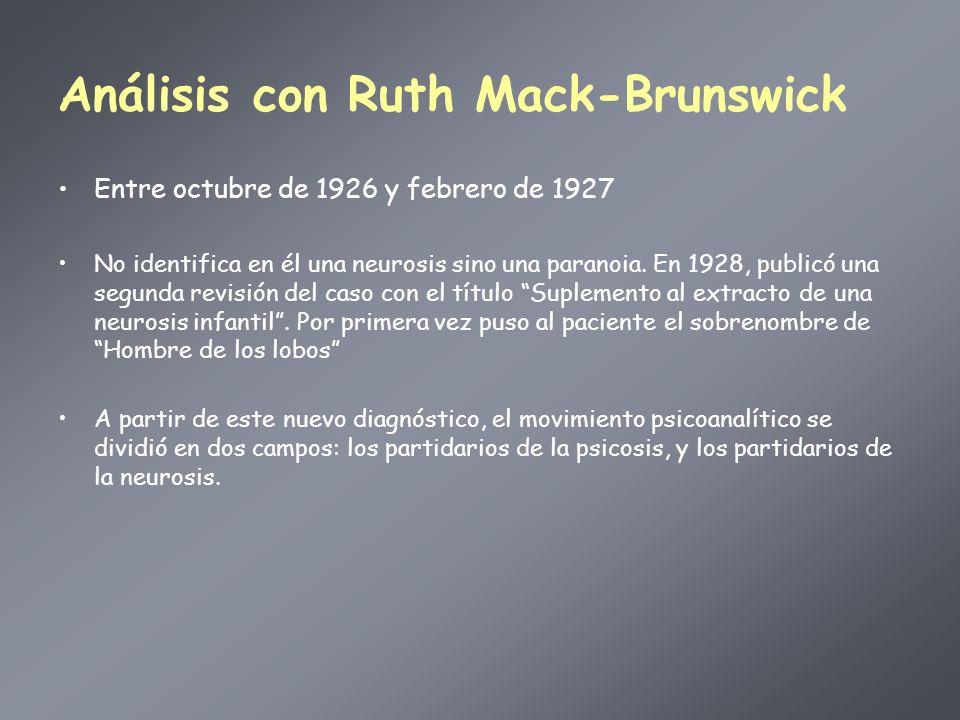 Análisis con Ruth Mack-Brunswick Entre octubre de 1926 y febrero de 1927 No identifica en él una neurosis sino una paranoia. En 1928, publicó una segu