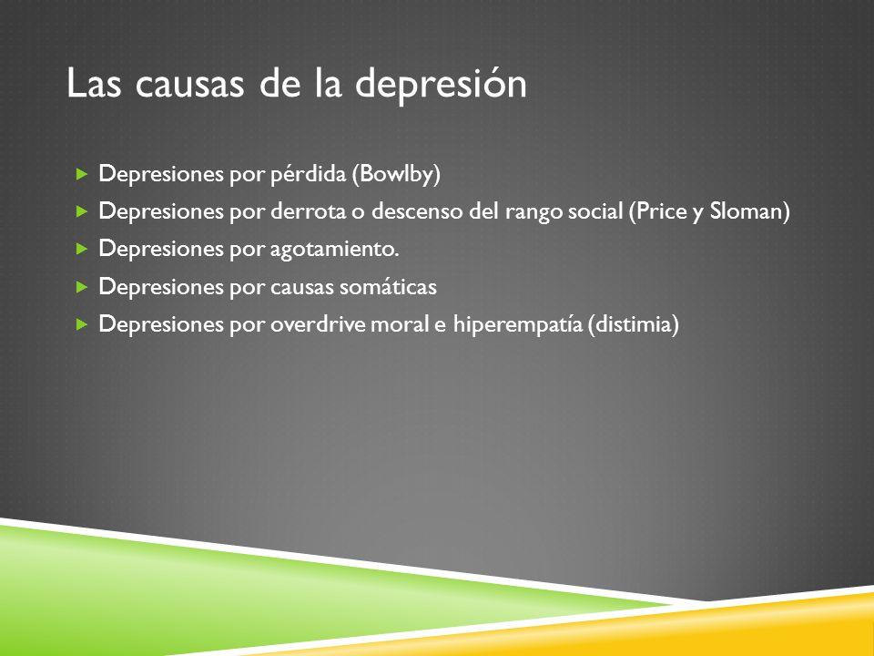 Las causas de la depresión Depresiones por pérdida (Bowlby) Depresiones por derrota o descenso del rango social (Price y Sloman) Depresiones por agota