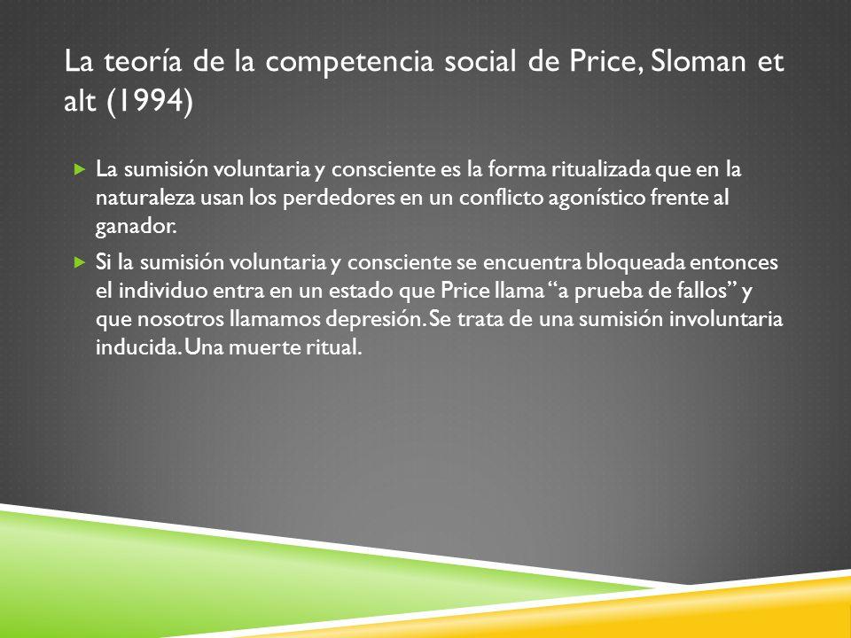 La teoría de la competencia social de Price, Sloman et alt (1994) La sumisión voluntaria y consciente es la forma ritualizada que en la naturaleza usa