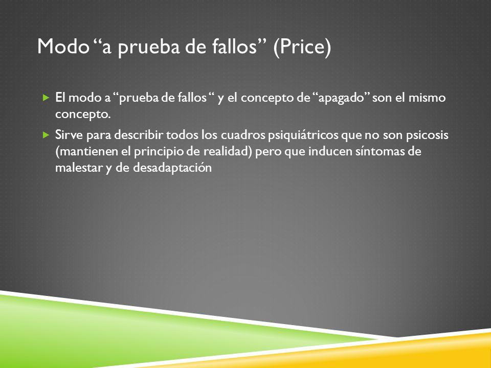 Modo a prueba de fallos (Price) El modo a prueba de fallos y el concepto de apagado son el mismo concepto. Sirve para describir todos los cuadros psiq