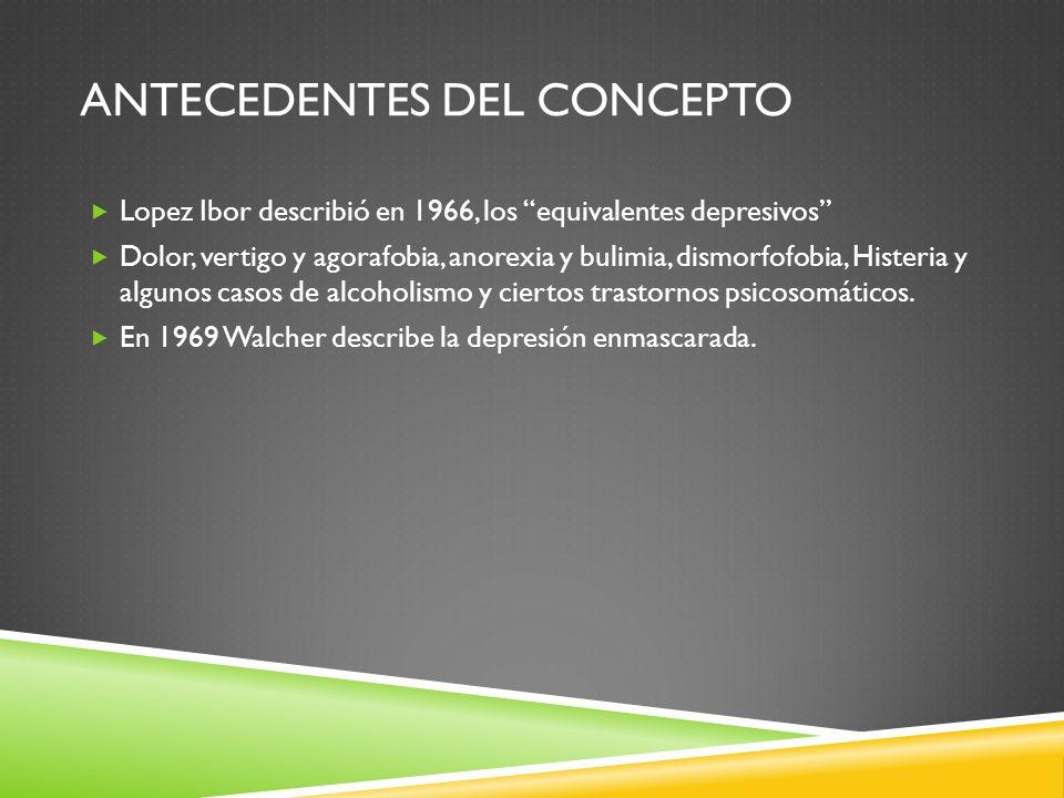 ANTECEDENTES DEL CONCEPTO Lopez Ibor describió en 1966, los equivalentes depresivos Dolor, vertigo y agorafobia, anorexia y bulimia, dismorfofobia, Hi