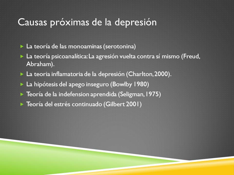 Causas próximas de la depresión La teoría de las monoaminas (serotonina) La teoría psicoanalítica: La agresión vuelta contra sí mismo (Freud, Abraham)