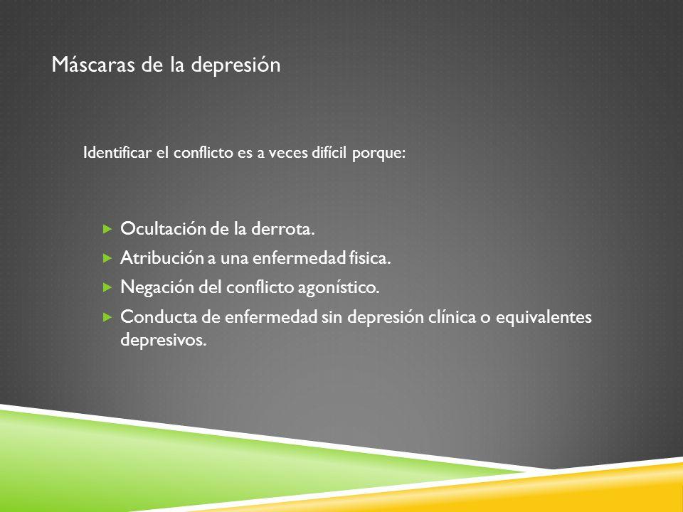 Máscaras de la depresión Ocultación de la derrota. Atribución a una enfermedad fisica. Negación del conflicto agonístico. Conducta de enfermedad sin d