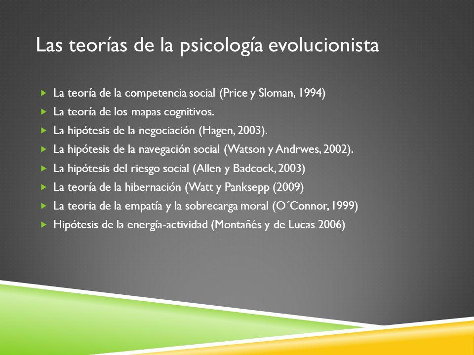 Las teorías de la psicología evolucionista La teoría de la competencia social (Price y Sloman, 1994) La teoría de los mapas cognitivos. La hipótesis d