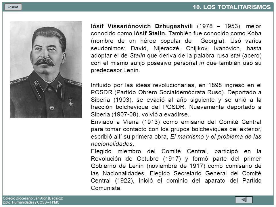 10. LOS TOTALITARISMOS Colegio Diocesano San Atón (Badajoz) Dpto. Humanidades y CCSS – HªMC INICIO Iósif Vissariónovich Dzhugashvili (1978 – 1953), me