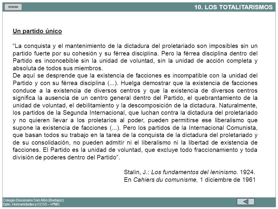 10. LOS TOTALITARISMOS Colegio Diocesano San Atón (Badajoz) Dpto. Humanidades y CCSS – HªMC INICIO Un partido único La conquista y el mantenimiento de