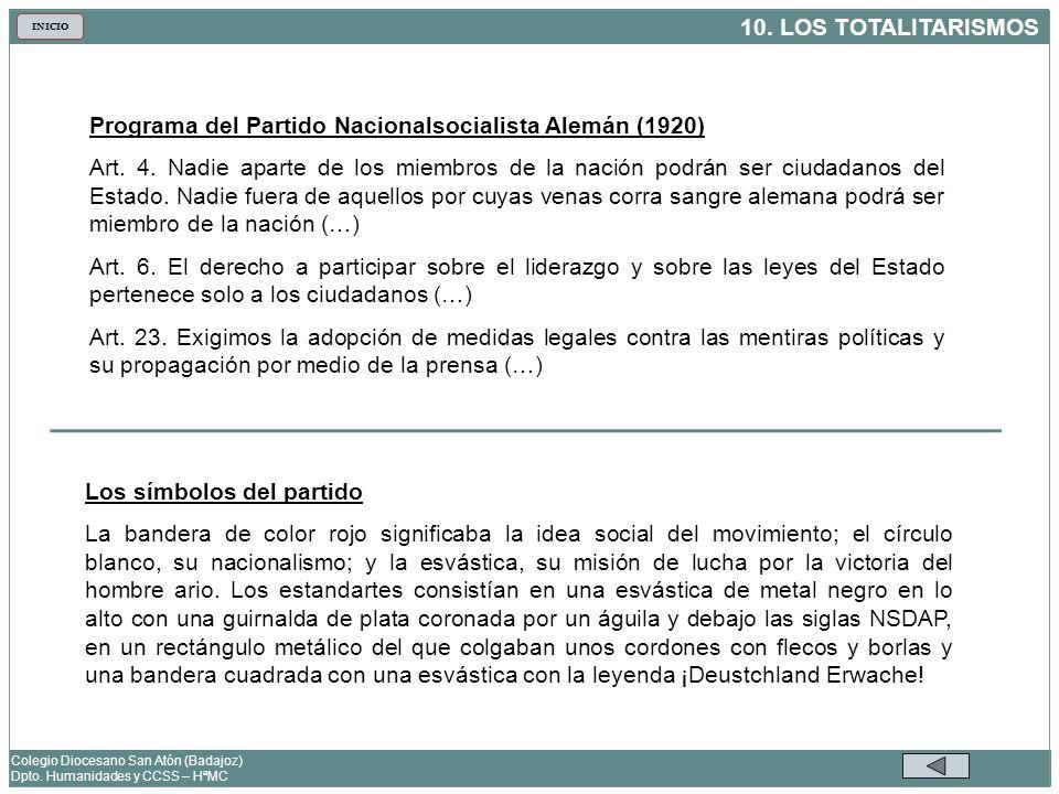 10. LOS TOTALITARISMOS Colegio Diocesano San Atón (Badajoz) Dpto. Humanidades y CCSS – HªMC INICIO Programa del Partido Nacionalsocialista Alemán (192