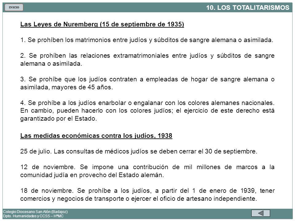 10. LOS TOTALITARISMOS Colegio Diocesano San Atón (Badajoz) Dpto. Humanidades y CCSS – HªMC INICIO Las Leyes de Nuremberg (15 de septiembre de 1935) 1