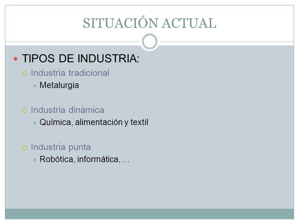SITUACIÓN ACTUAL TIPOS DE INDUSTRIA: Industria tradicional Metalurgia Industria dinámica Química, alimentación y textil Industria punta Robótica, info
