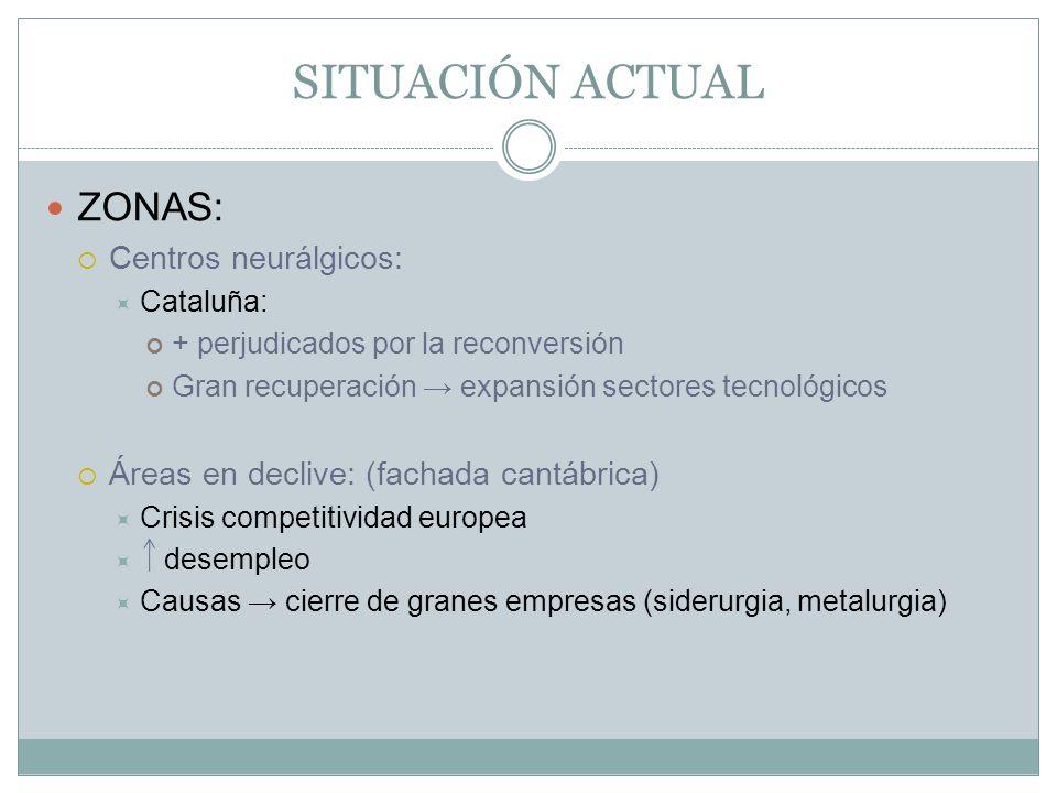 SITUACIÓN ACTUAL ZONAS: Centros neurálgicos: Cataluña: + perjudicados por la reconversión Gran recuperación expansión sectores tecnológicos Áreas en d