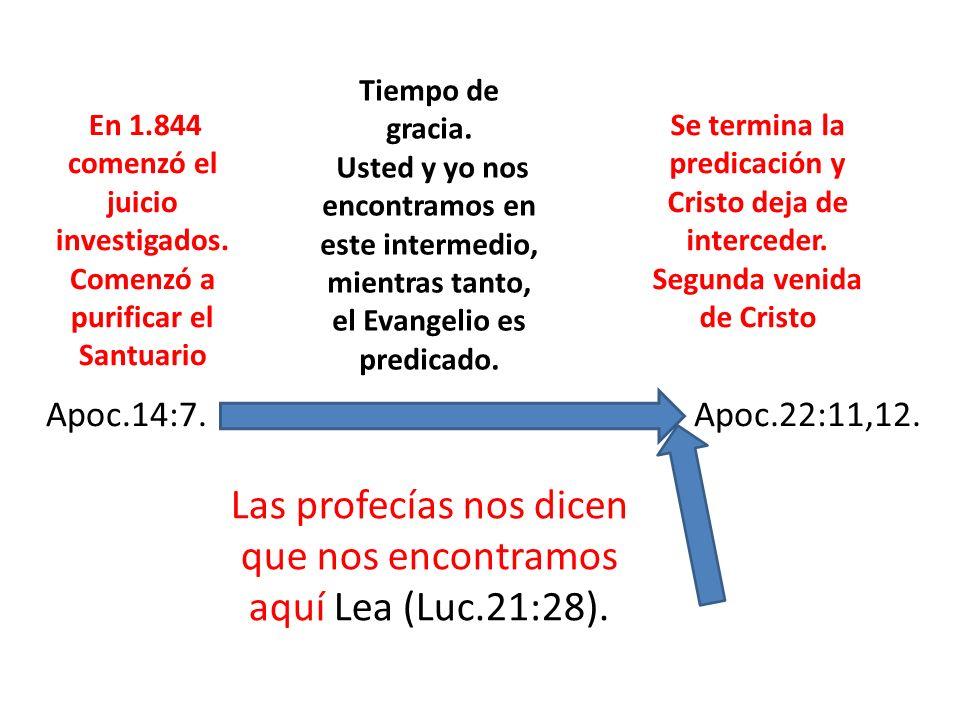 Tiempo de gracia. Usted y yo nos encontramos en este intermedio, mientras tanto, el Evangelio es predicado. En 1.844 comenzó el juicio investigados. C