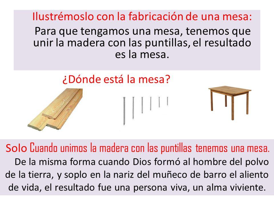 Ilustrémoslo con la fabricación de una mesa: Para que tengamos una mesa, tenemos que unir la madera con las puntillas, el resultado es la mesa.