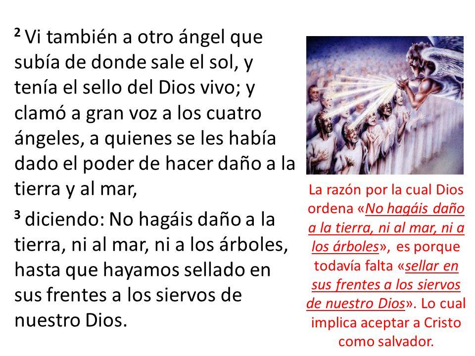 2 Vi también a otro ángel que subía de donde sale el sol, y tenía el sello del Dios vivo; y clamó a gran voz a los cuatro ángeles, a quienes se les ha