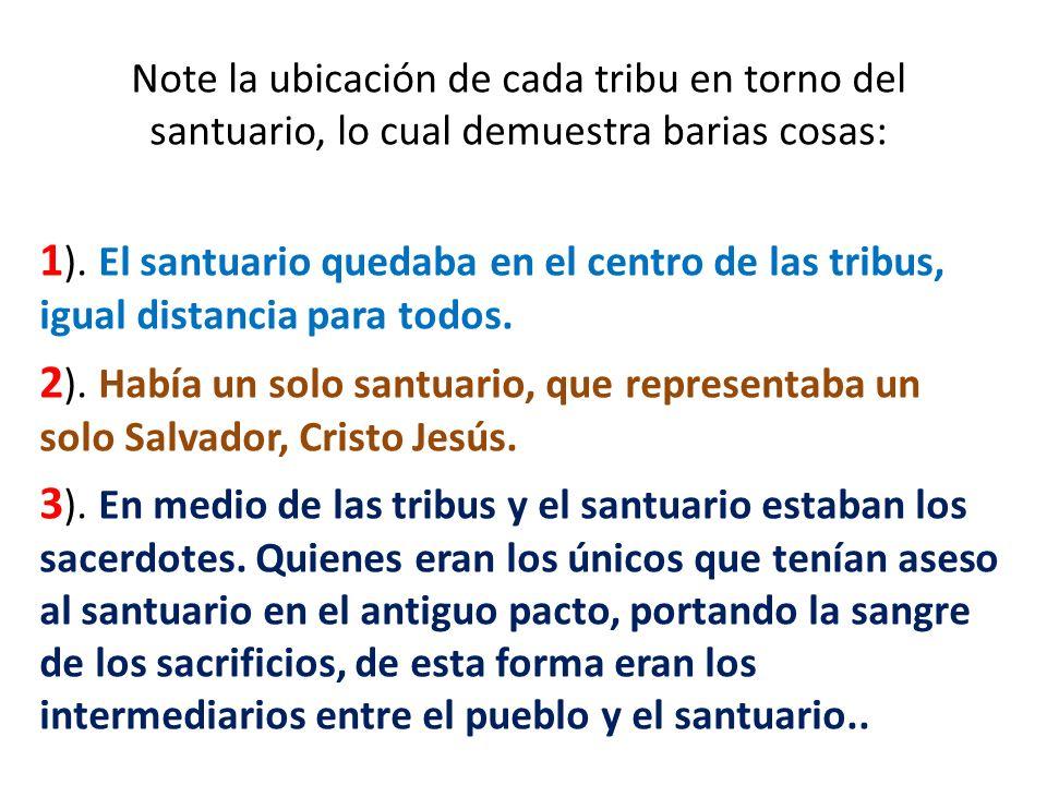 Note la ubicación de cada tribu en torno del santuario, lo cual demuestra barias cosas: 1 ). El santuario quedaba en el centro de las tribus, igual di